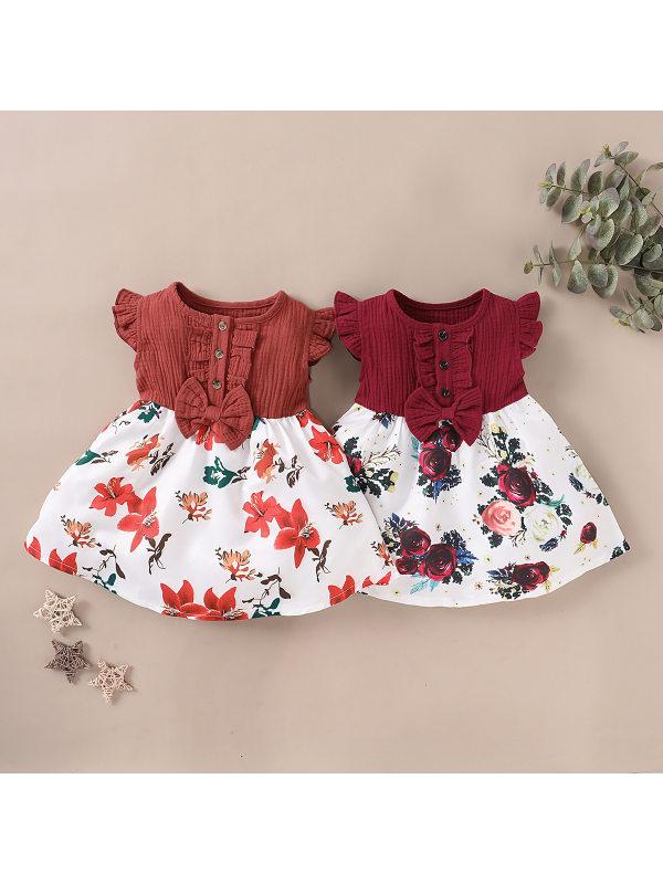 【12M-5Y】Girls Sleeveless Stitching Floral Dress