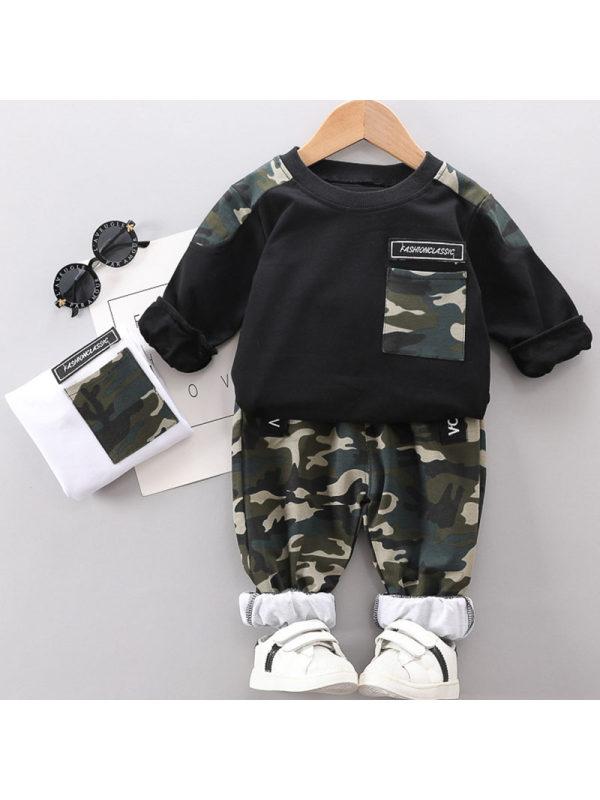 【12M-5Y】Boys Casual Camouflage Sweatshirt Pants Set