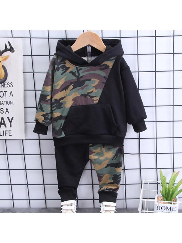 【12M-5Y】Boys Black Camouflage Hooded Sweatshirt Pants Set
