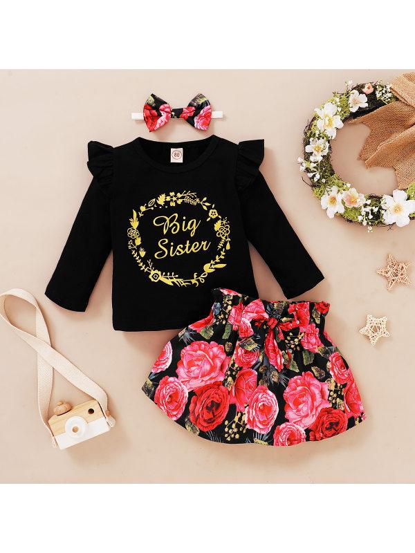 【12M-4Y】Girl Rose Flower Long-sleeved T-shirt Skirt Turban Set