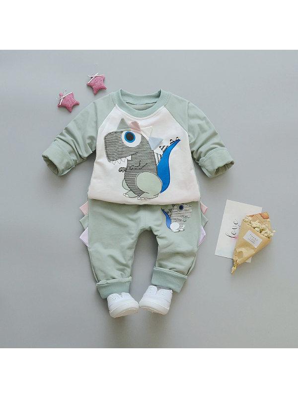【12M-4Y】Boys Dinosaur Print Two-piece Suit