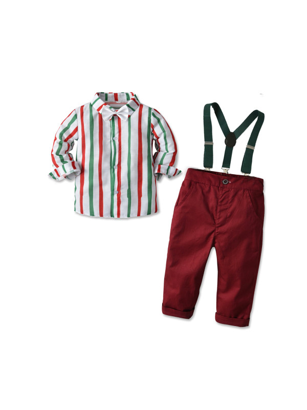 【12M-7Y】Boys Striped Long-sleeved Shirt And Bib Two-piece Suit