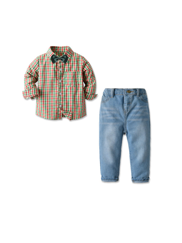 【12M-7Y】Boy's Long-sleeved Plaid Shirt And Denim Trousers Two-piece Suit