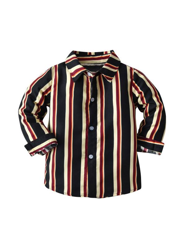 【18M-9Y】Boys Long Sleeve Striped Shirt