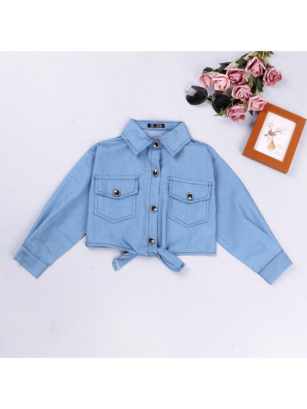 【3Y-13Y】Girls Denim Long-sleeved Short Jacket