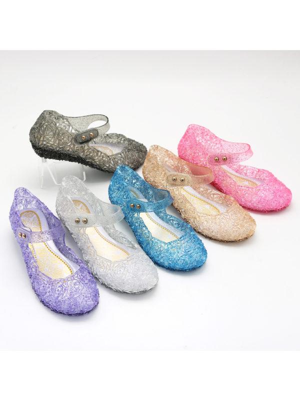 Girls Princess High Heel Crystal Sandals