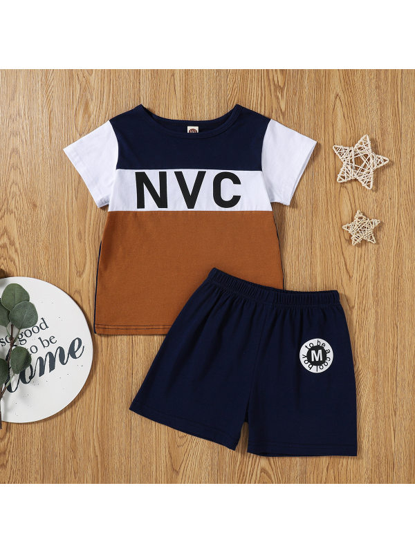 【2Y-9Y】Boys Short-sleeved Letter Print Color-blocking T-shirt With Casual Shorts Two-piece Suit