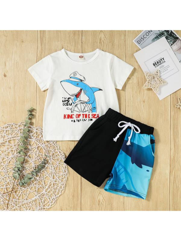 【18M-7Y】Boys Short Sleeve Shark Letters Printed Two-Piece Shorts Set