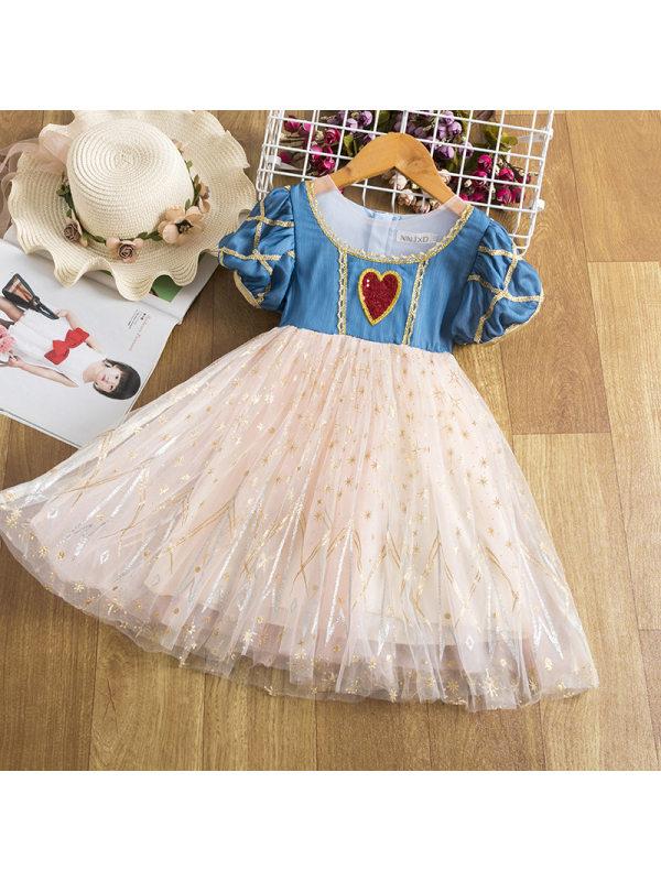 【2Y-11Y】Big Girls Lace Round Neck Puff Sleeve Puffy Mesh Princess Dress