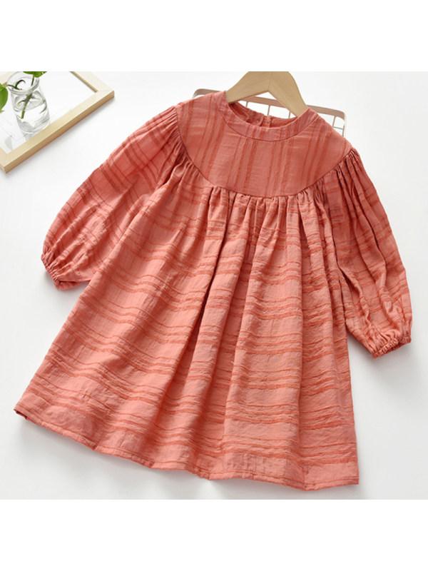 【2Y-9Y】Girl Sweet Orange Long Sleeve Dress