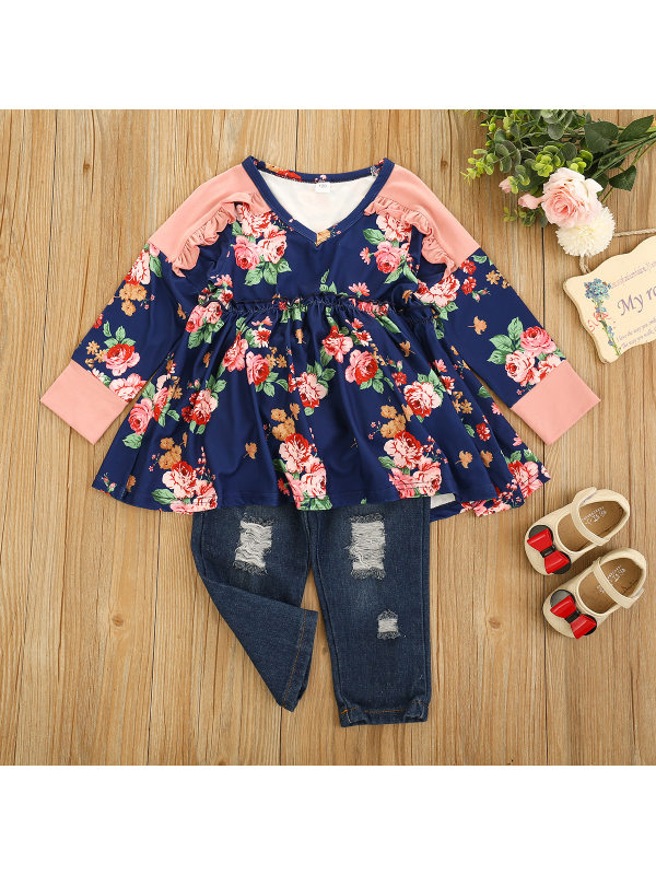 【12M-5Y】Little Girl V-neck Stitching Printed Top With Ripped Jeans Suit