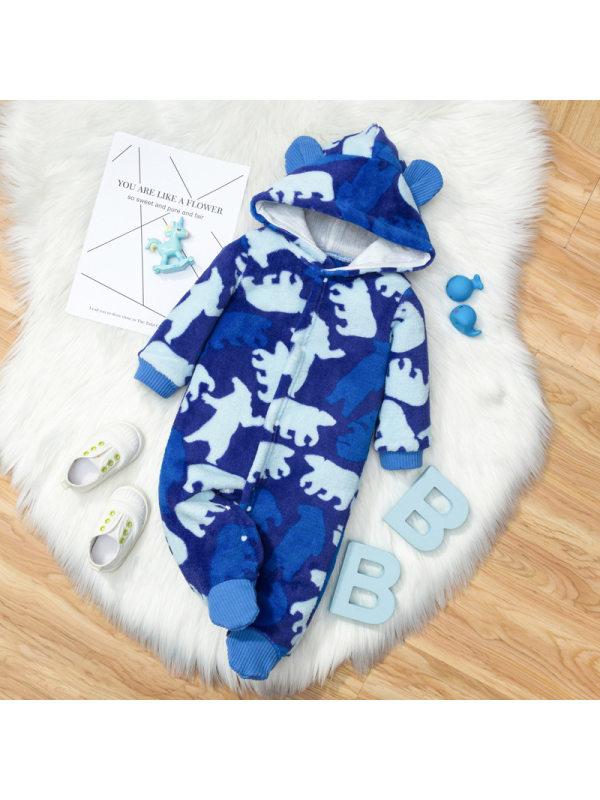 【3M-18M】Cute Cartoon Print Blue Hooded Romper