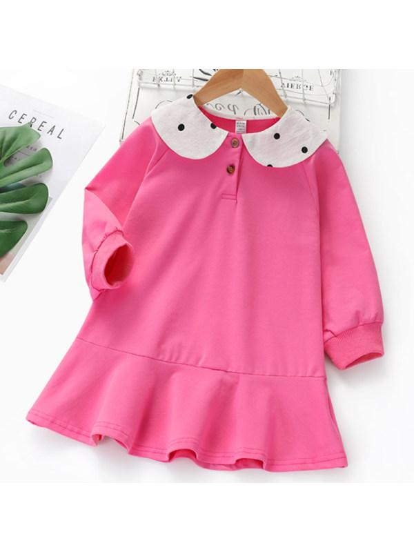 【2Y-9Y】Girl Sweet Rose Red Polka Dot Lapel Long Sleeve Dress