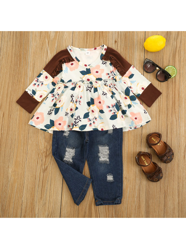 【12M-5Y】Girls Round Necl Stitching Printed Top With Ripped Denim Trousers Suit
