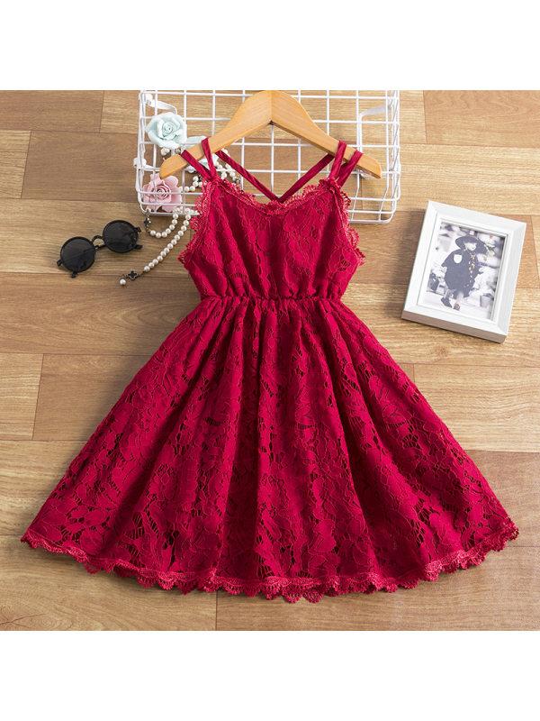 【2Y-9Y】Girls V-neck Lace Sling Dress