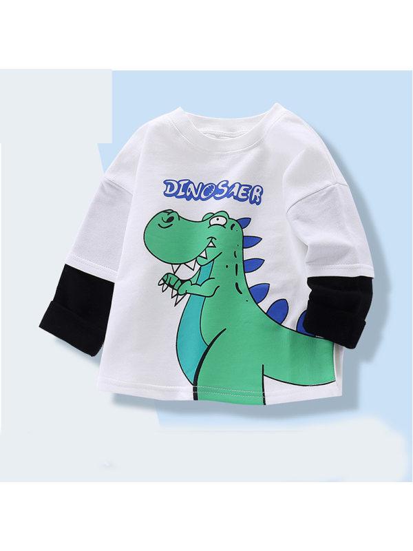 【18M-9Y】Boys Round Neck Cartoon Print Fake Two-piece Long-sleeved Sweatershirt