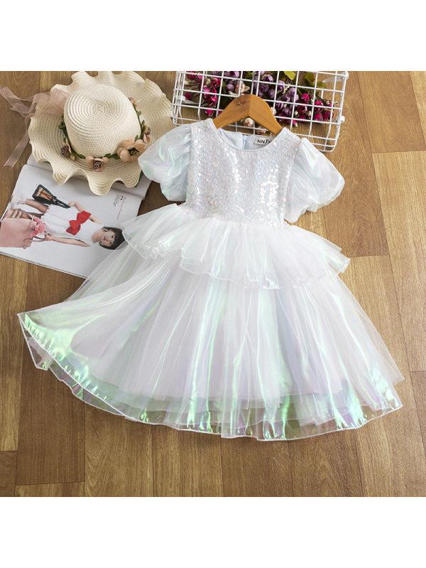 【2Y-11Y】Big Girl Round Neck Laser Colorful Puff Sleeve Princess Dress