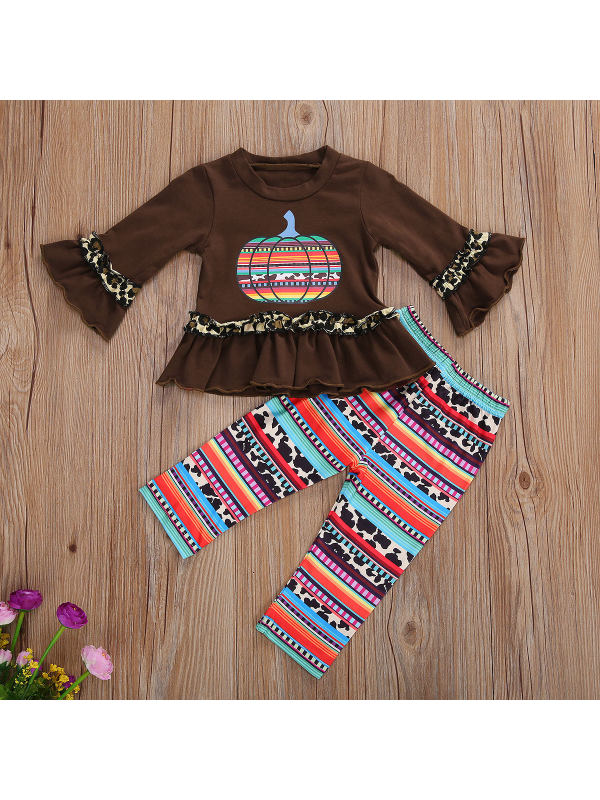 【6M-5Y】Girls Long Sleeve Cartoon Print Top With Pants Two-piece Suit
