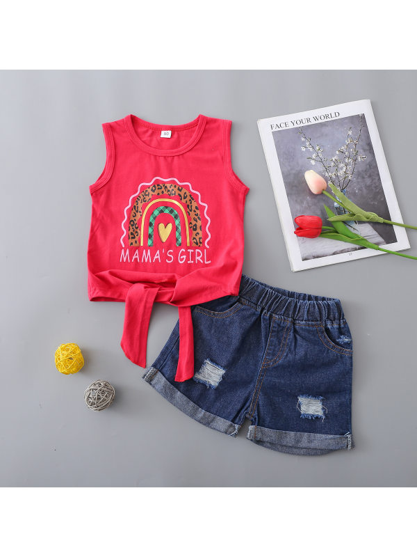 【18M-5Y】Girls Round Neck Print Sleeveless Vest With Denim Shorts Suit