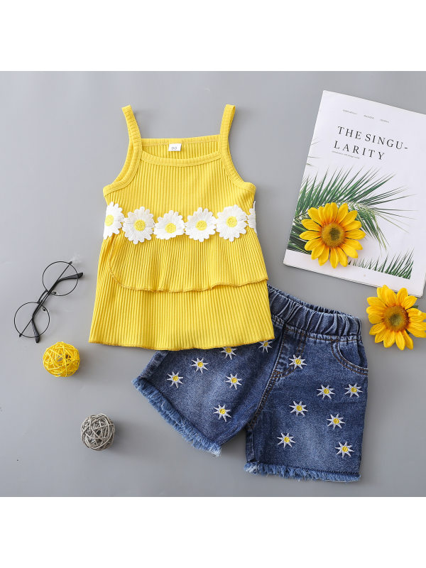 【18M-5Y】Girls Round Neck Yellow Suspender Flower Blouse With Embroidered Denim Shorts Suit