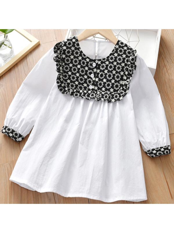 【2Y-9Y】Girl Sweet White Long Sleeve Dress