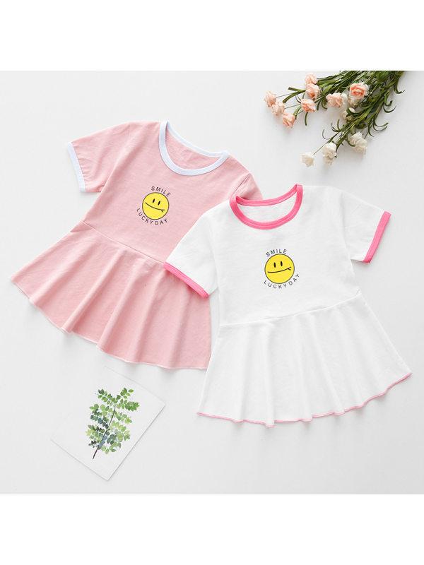 【12M-5Y】Girls Round Neck Cartoon Print Short Sleeve Dress