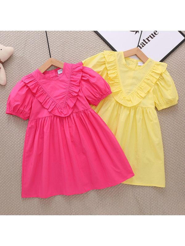 【2Y-9Y】Girls Ruffled Puff Sleeve Dress