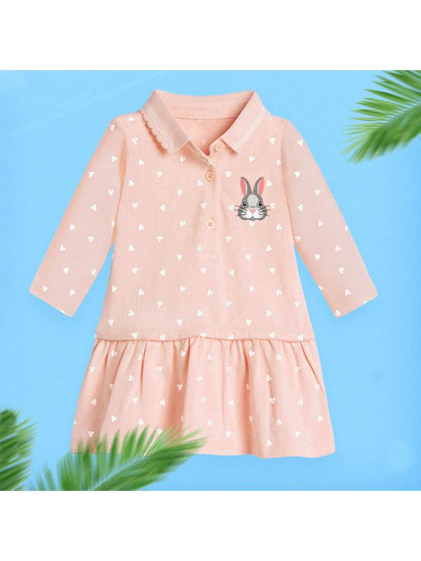 【18M-9Y】Girls Cartoon Rabbit Print Dress