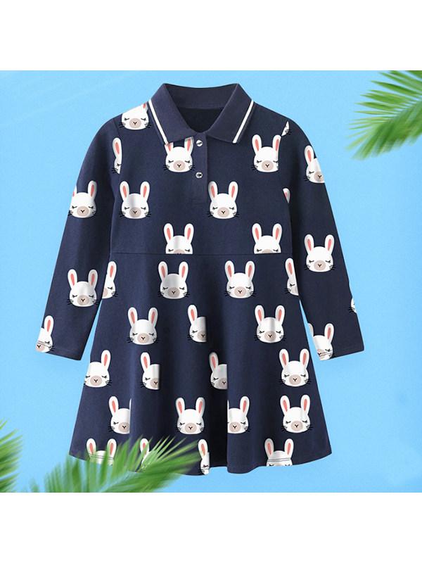 【18M-9Y】Girls Polo Collar Cartoon Print Long Sleeve Dress