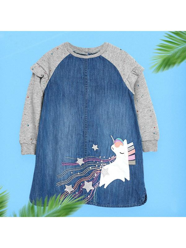 【18M-9Y】Girls Denim Stitching Long Sleeve Dress