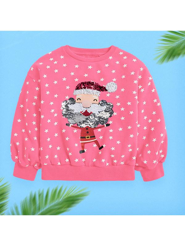 【18M-7Y】Girls Christmas Print Long Sleeve Sweatshirt