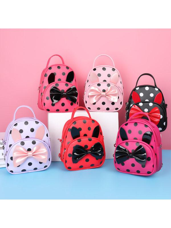 Girls  Princess Bowknot Polka Dot Adjustable Double Backpack