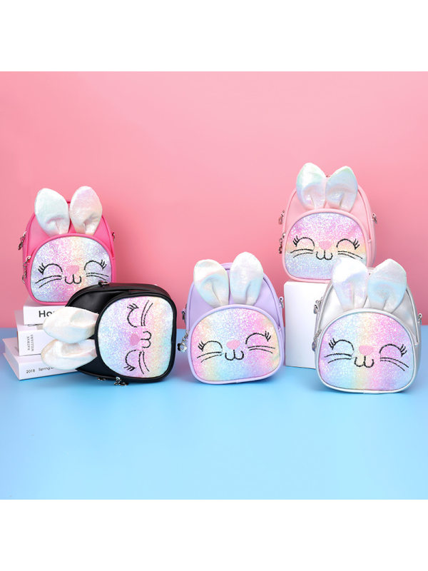 Girls Cute Bunny Diagonal Double Backpack