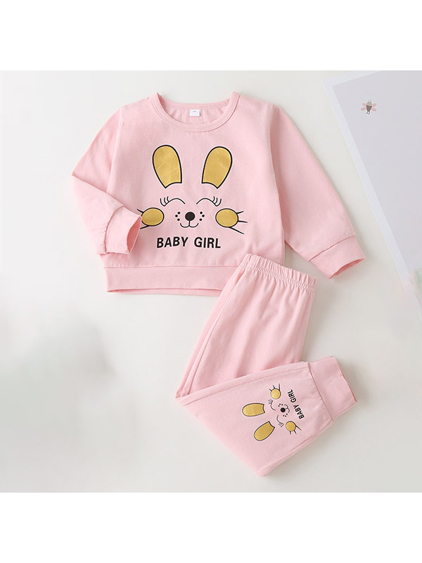 【6M-3Y】Girls Cartoon Print Long-sleeved Top And Trousers Suit