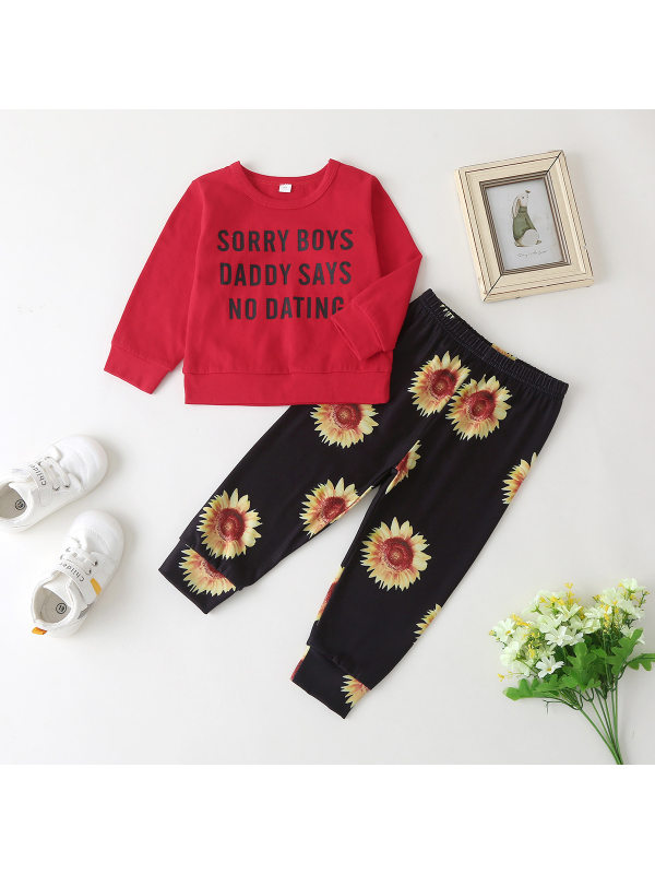 【6M-3Y】 Girls Letter Print Blouse With Sunflower Trousers Two-piece suit