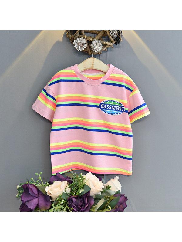 【18M-7Y】Girls Rainbow Stripes Casual Loose Short Sleeve T-Shirt Top