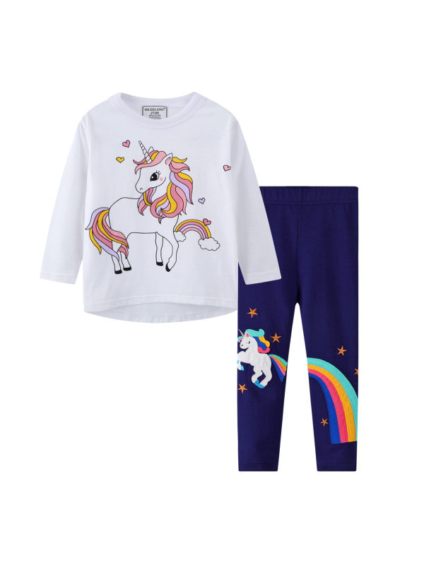 【18M-9Y】Girls Cartoon Print Long-sleeved T-shirt And Leggings Two-piece suit