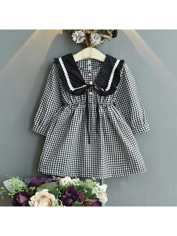 【18M-7Y】Girls Waist Plaid Dress