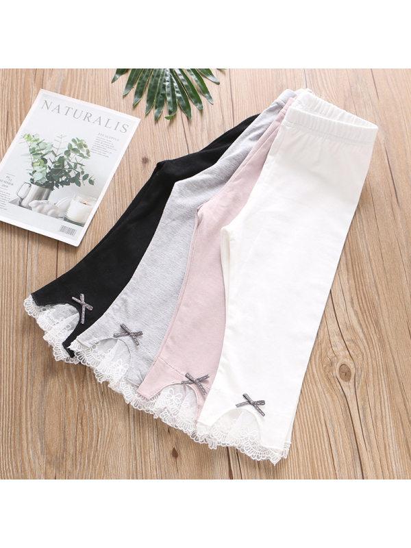 【2Y-9Y】Girls Solid Color Lace Decoration Leggings