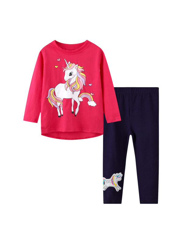 【18M-7Y】Big Girl Cartoon Print T-shirt And Leggings Two-piece Suit