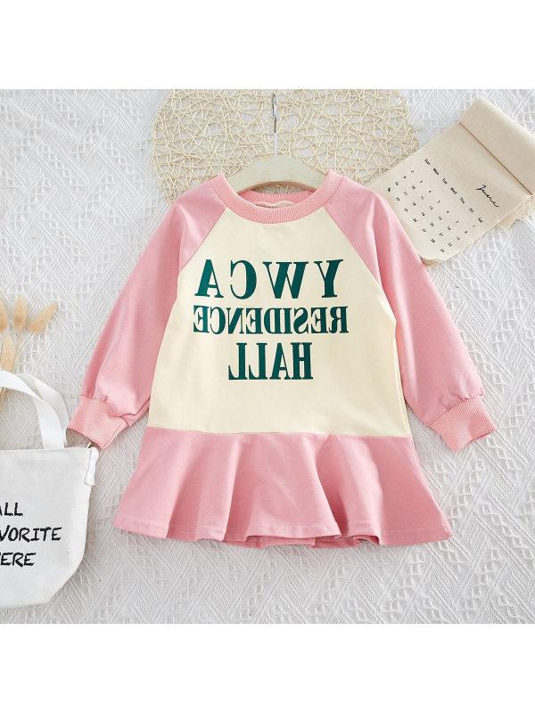 【18M-7Y】Girls Letter Print Color Block Sweatshirt Dress
