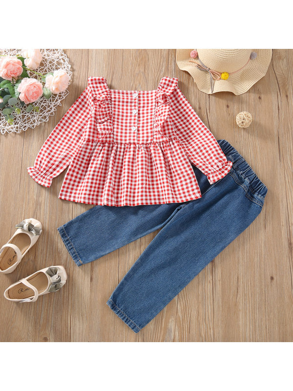 【18M-7Y】Girls Red Plaid Long-sleeved Shirt Denim Trousers Two-piece Suit