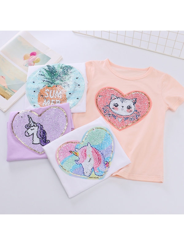 【2Y-9Y】Girls Unicorn Sequins Reversible Color Changing T-shirt