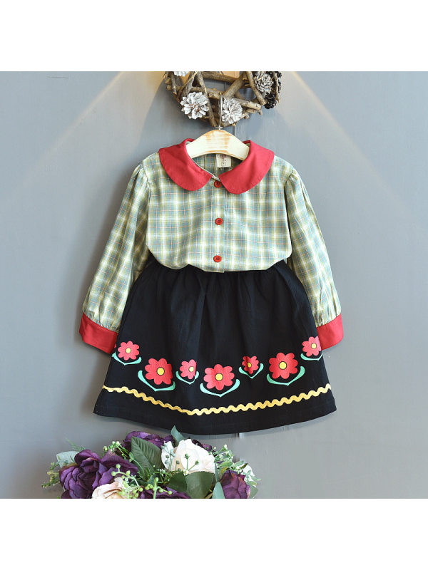 【18M-7Y】Girls Plaid Long Sleeve Shirt And Half Skirt Two-Piece Set