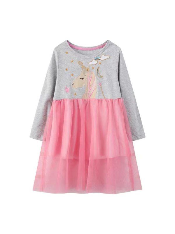 【18M-9Y】Girls Cartoon Printed Mesh Stitching Dress