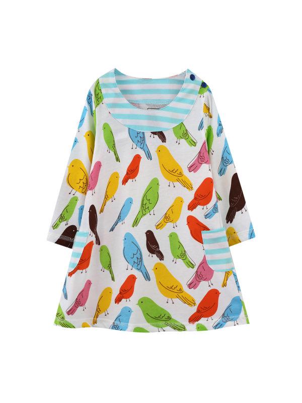 【18M-7Y】Girls Cartoon Print Long-sleeved Dress