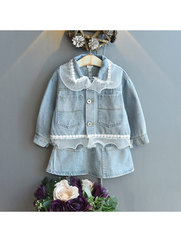 【18M-7Y】Girls Lace Denim Jacket And Half Skirt Two-Piece Set
