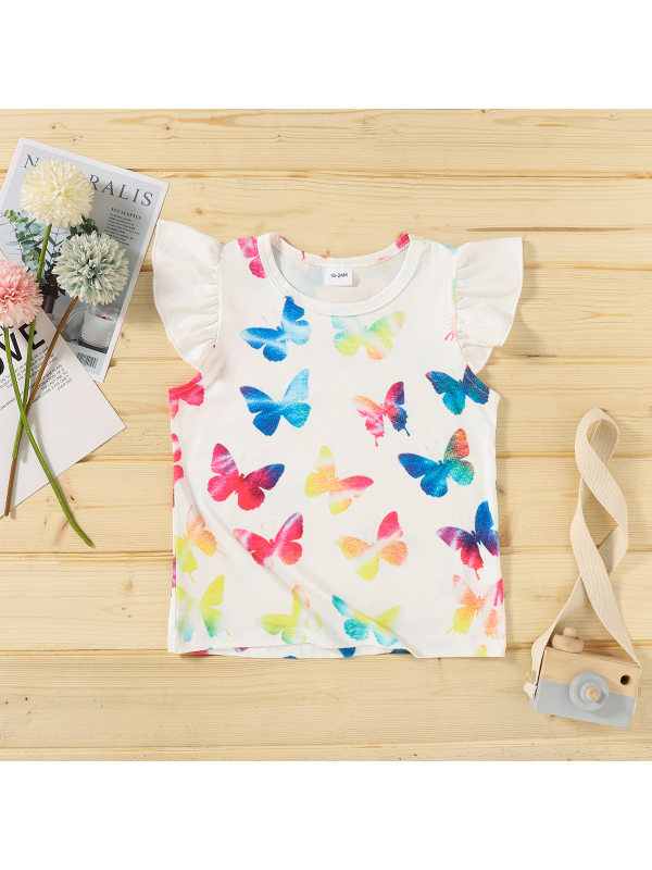 【18M-7Y】Girls Flying Sleeve Butterfly Print T-shirt