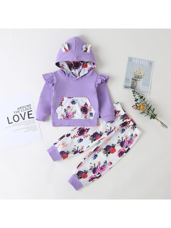 【6M-3Y】Girls Long-sleeved Hooded Top And Printed Pants Two-piece Suit