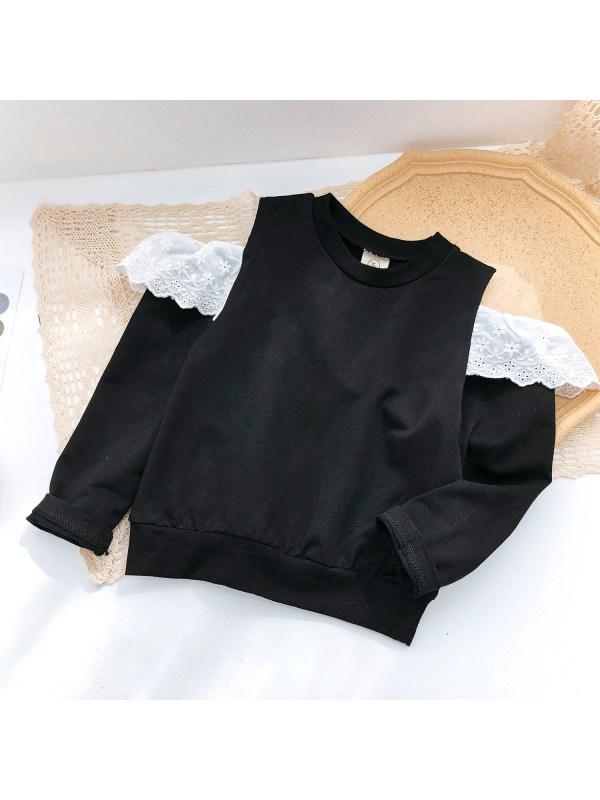 【18M-9Y】Girls Round Neck Off-shoulder Long-sleeved Sweatshirt